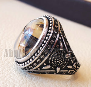 yamani aqeeq Akik , akeek natural oval semi precious multi color agate gemstone men ring sterling silver 925 jewelry all sizes عقيق يماني