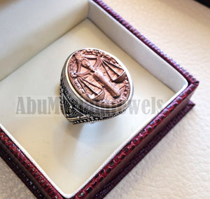 Horoscopes zodiac sign Libra sterling silver 925 and antique bronze huge men ring all sizes men jewelry gift that bring luck fast shipping