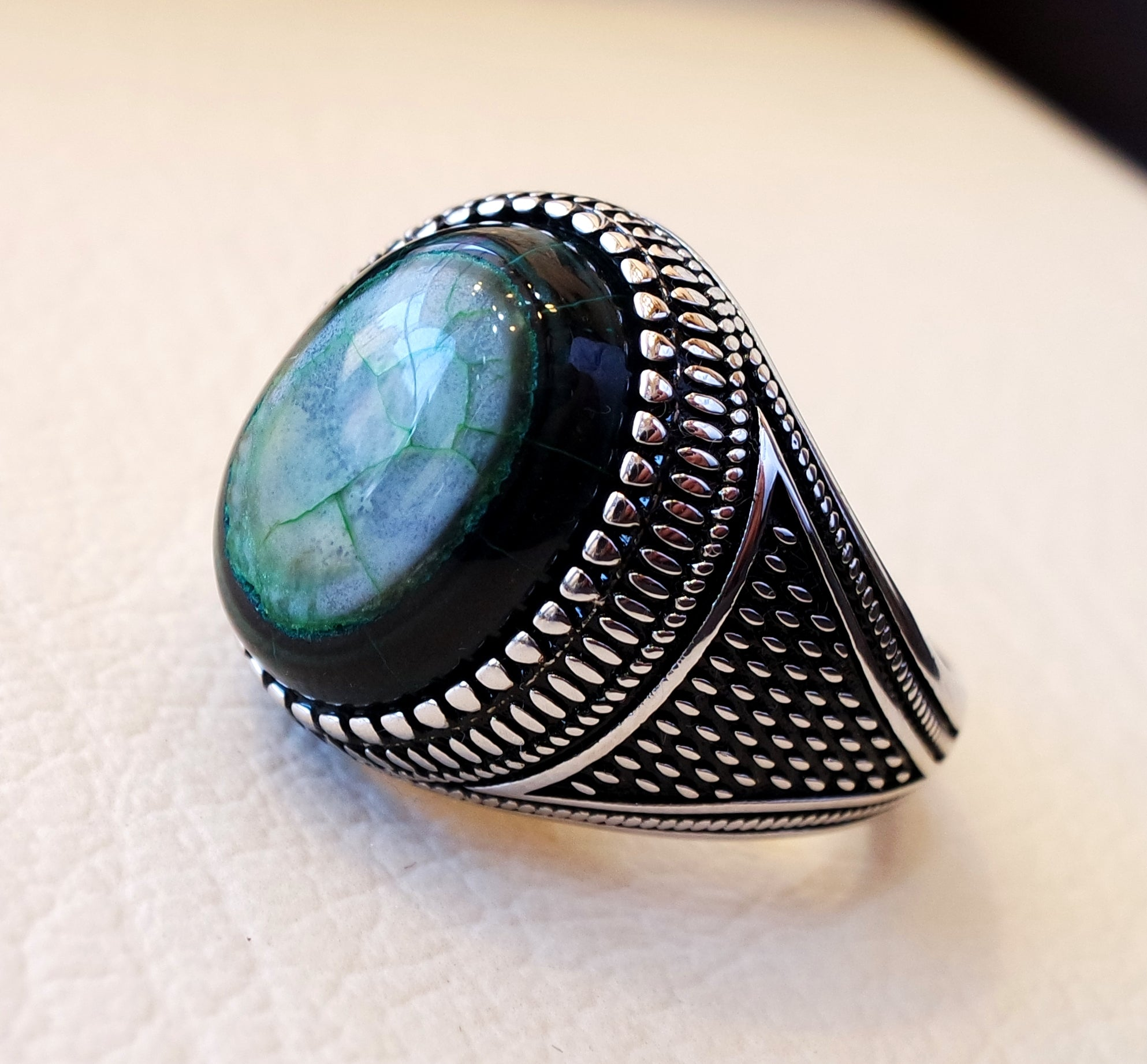 Akeek agate green natural aqeeq stone semi precious men ring sterling silver 925 all sizes antique ottoman middle east style jewelry