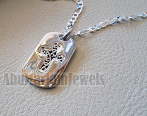Heavy cross pendant with thick chain sterling silver 925 middle eastern style religious jewelry christianity vintage heavy express shipping