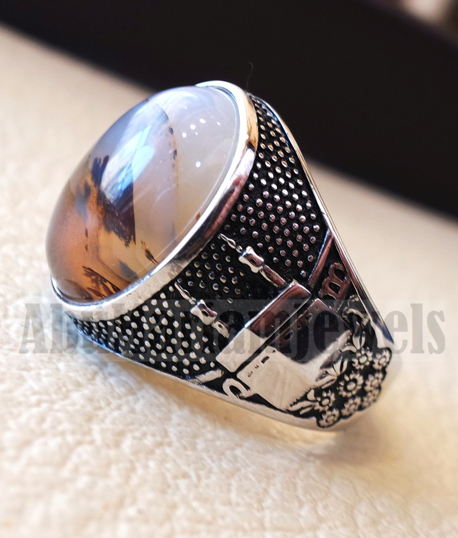 yamani aqeeq natural multi color agate gemstone men muslim mosque ring sterling silver 925 jewelry all sizes عقيق يماني الكعبة