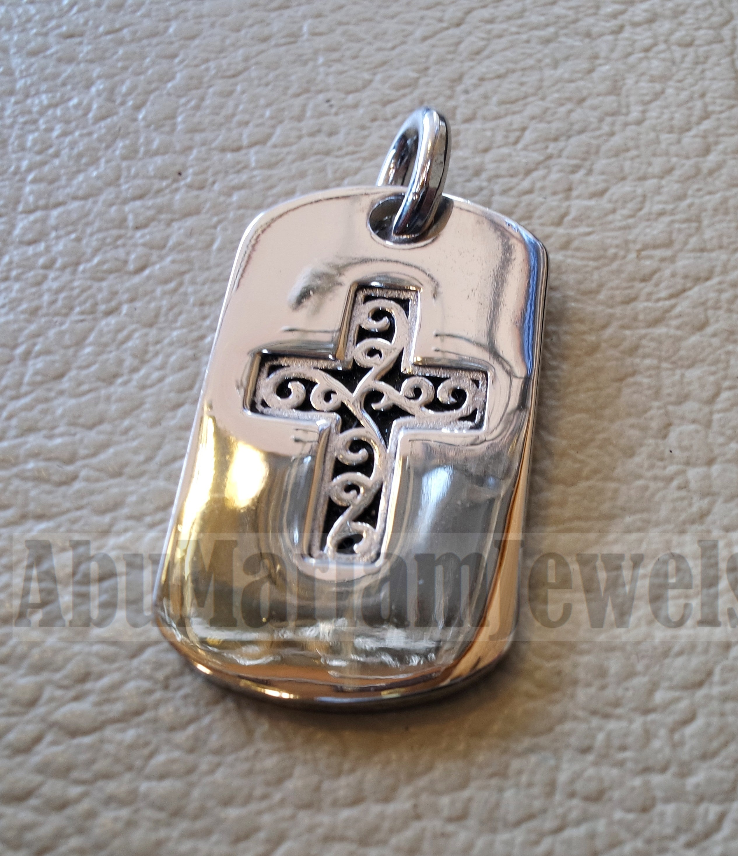 Heavy cross pendant sterling silver 925 middle eastern style religious jewelry christianity vintage handmade heavy express shipping