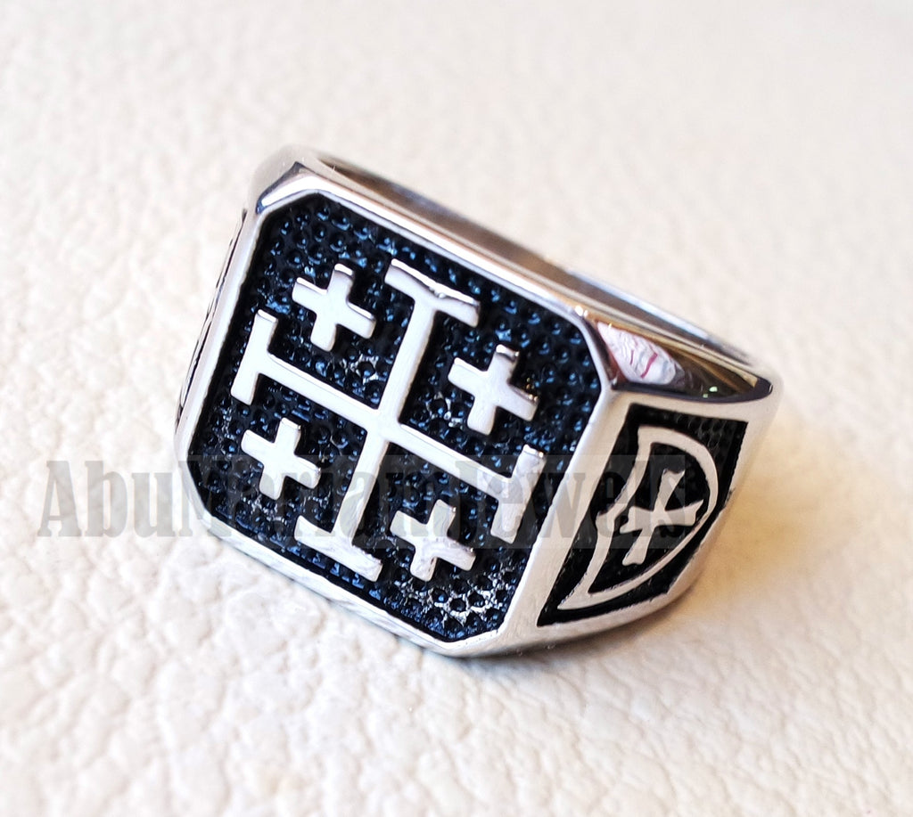 Jerusalem Cross ring christ christian symbol sterling silver 925 man gift jewelry fast shipping square shape all sizes Catholic Orthodox