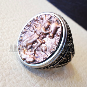 Aquarius Horoscopes zodiac sign sterling silver 925 and antique bronze huge men ring all sizes men jewelry gift that bring luck fast shipping