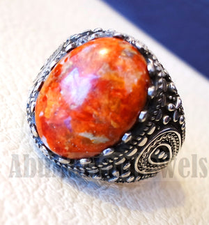 Sponge coral Murjan moonga men ring orange brown red natural stone sterling silver 925 vintage turkish style all sizes fast shipping مرجان