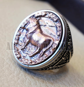 Horoscopes zodiac sign Taurus sterling silver 925 and antique bronze huge men ring all sizes men jewelry gift that bring luck fast shipping