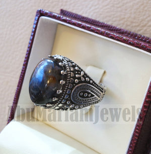 pietersite natural stunning tempest stone man ring sterling silver 925 oval cabochon multi color gem ottoman arabic style all sizes jewelry