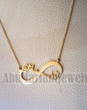 personalized customized 2 names 18 k gold arabic calligraphy pendant with chain infinity pear , round rectangular or any shape fine jewelry