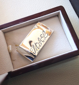 personalized customized heavy sterling silver 925 money clip three cursive letters or one name Arabic or English or any other can be applied