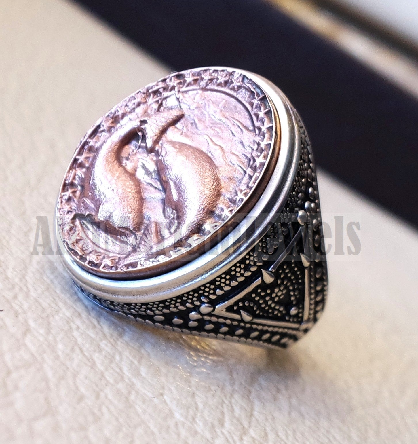 Horoscopes zodiac sign Pisces sterling silver 925 and antique bronze huge men ring all sizes men jewelry gift that bring luck fast shipping