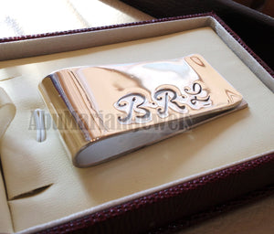 personalized customized heavy sterling silver 925 money clip three initial letters or one name Arabic or English or any other can be applied