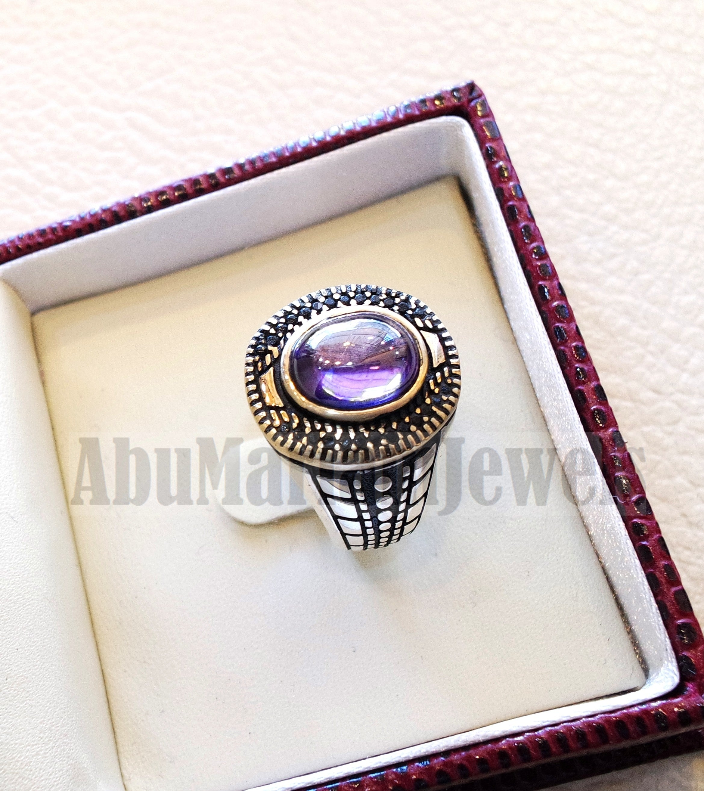 Oval purple tanzanite amethyst color synthetic imitation stone sterling silver 925 bronze stunning ring all sizes middle eastern jewelry black CZ