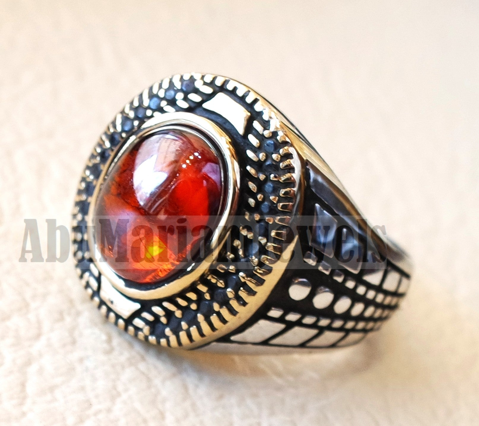 Oval red ruby garnet color synthetic imitation stone sterling silver 925 bronze stunning ring all sizes middle eastern jewelry black CZ