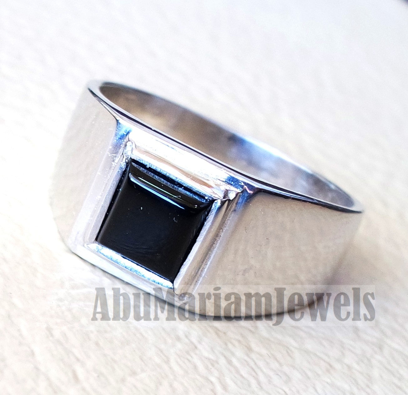 square small pinkie black onyx agate stone sterling silver 925 simple man ring jewelry any size fast shipping