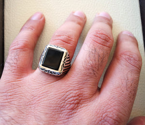 Rectangular silver onyx black aqeeq flat natural agate gemstone men ottoman style ring sterling silver 925 jewelry all sizes fast shipping
