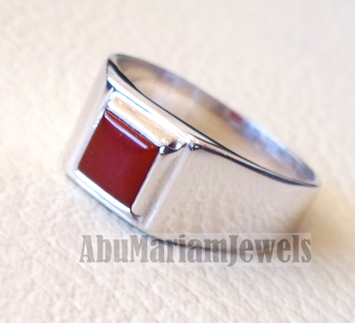 square small pinkie natural red aqeeq carnelian agate stone sterling silver 925 simple man ring jewelry any size fast shipping