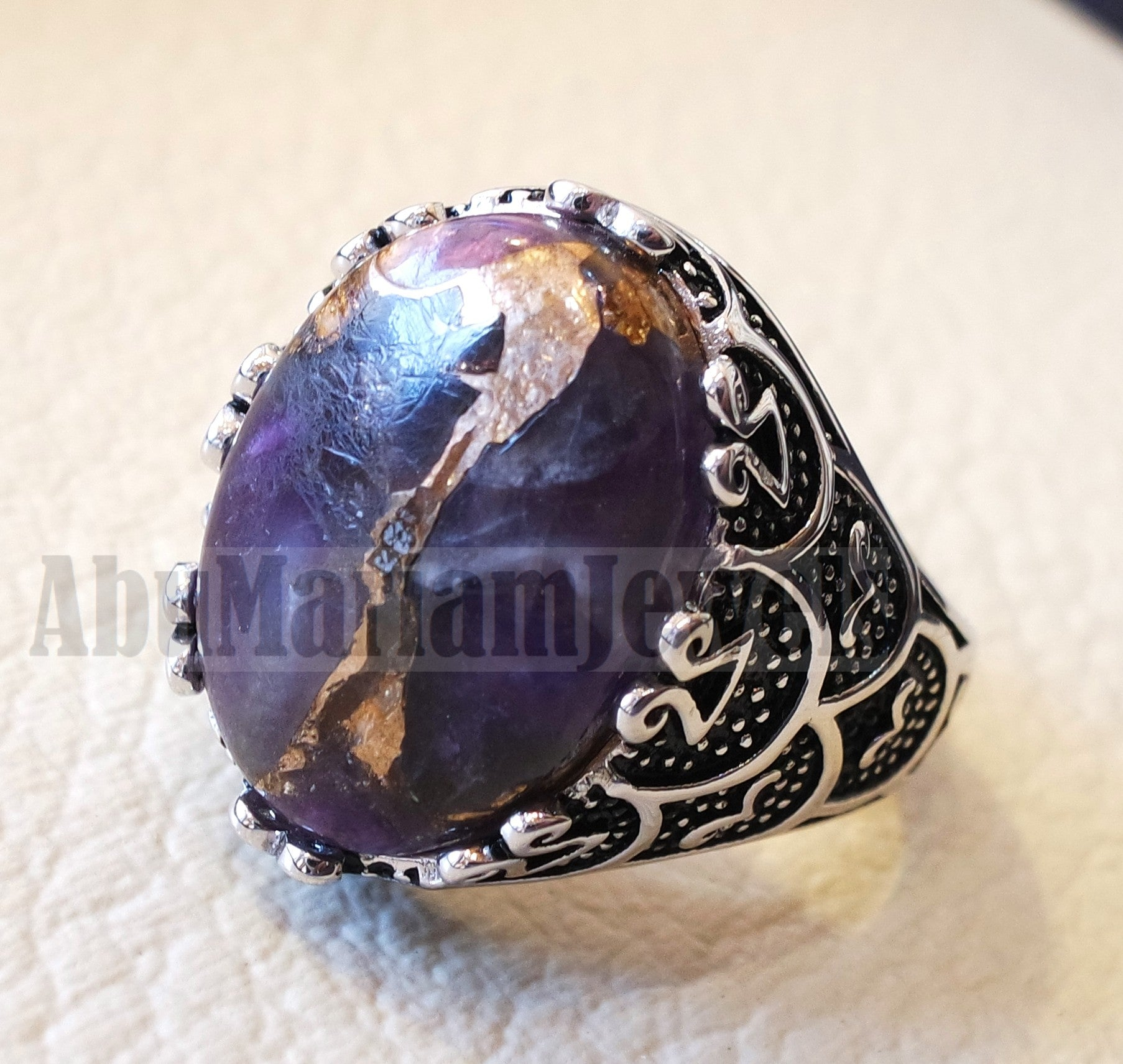 man ring copper amethyst natural purple stone sterling silver 925 oval cabochon semi precious gem ottoman arabic style all sizes jewelry