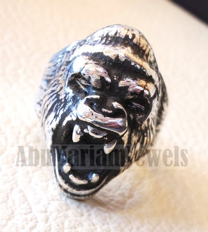 huge Gorilla ring very heavy sterling silver 925 man biker ring all sizes handmade animal head jewelry fast shipping detailed craftsmanship
