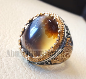 Oval yamani aqeeq natural semi precious Sulymani agate gem men ring sterling silver 925 and bronze jewelry all sizes عقيق يماني aq006