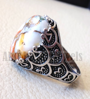 man ring copper oyster natural stone sterling silver 925 oval cabochon semi precious gem ottoman arabic style all sizes jewelry