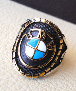 BMW sterling silver 925 and bronze heavy man ring all sizes ideal for new car gift