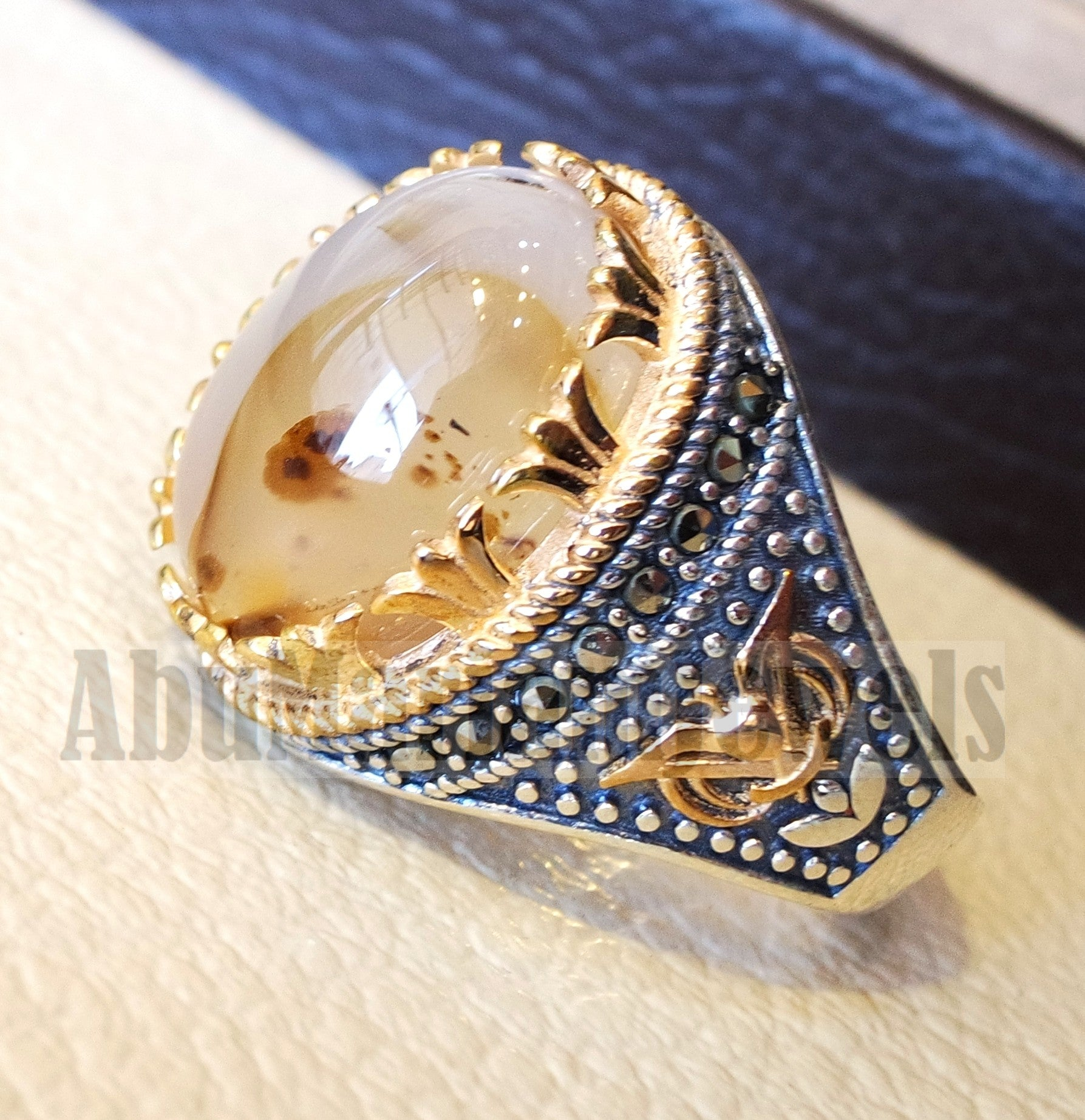 Oval yamani aqeeq natural semi precious multi color agate gem men ring sterling silver 925 and bronze jewelry all sizes  1007 عقيق يماني