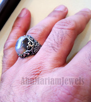 aqeeq natural agate Yamani multi color oval gem man ring sterling silver antique style fast shipping