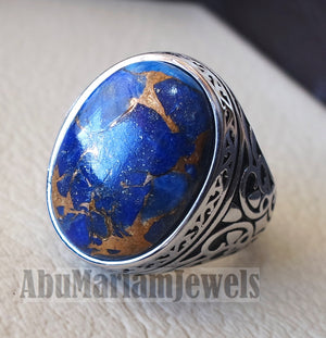 man ring copper Lapis lazuli natural stone sterling silver 925 oval cabochon semi precious gem ottoman arabic style all sizes jewelry