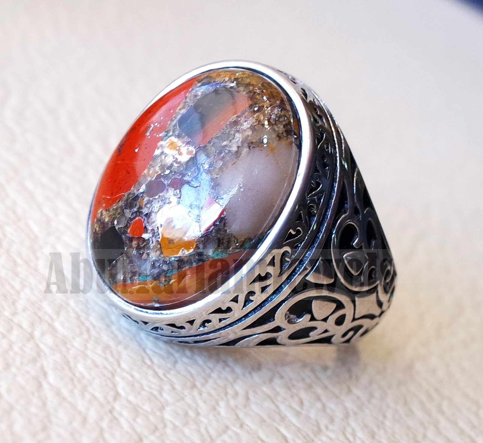 man ring Conglomerate natural stone sterling silver 925 oval cabochon semi precious gem ottoman style all sizes jewelry red brown white