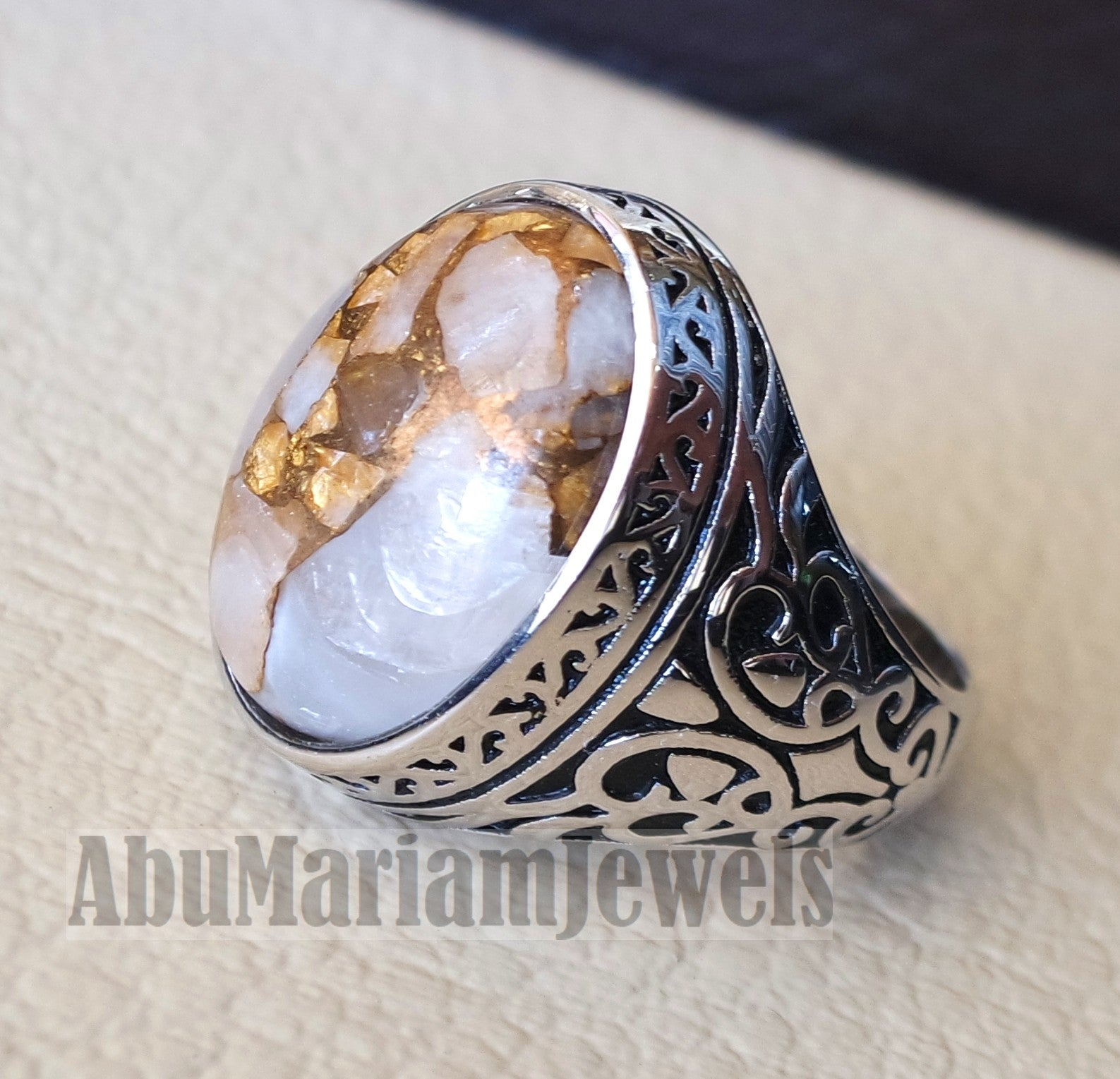 man ring copper Calcite natural stone sterling silver 925 oval cabochon semi precious gem ottoman arabic style all sizes jewelry