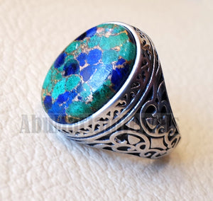 man ring copper Azurite natural stone sterling silver 925 oval cabochon semi precious gem ottoman arabic style all sizes jewelry