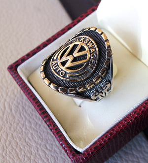 Volkswagen sterling silver 925 and bronze heavy man ring new car ideal gift all sizes