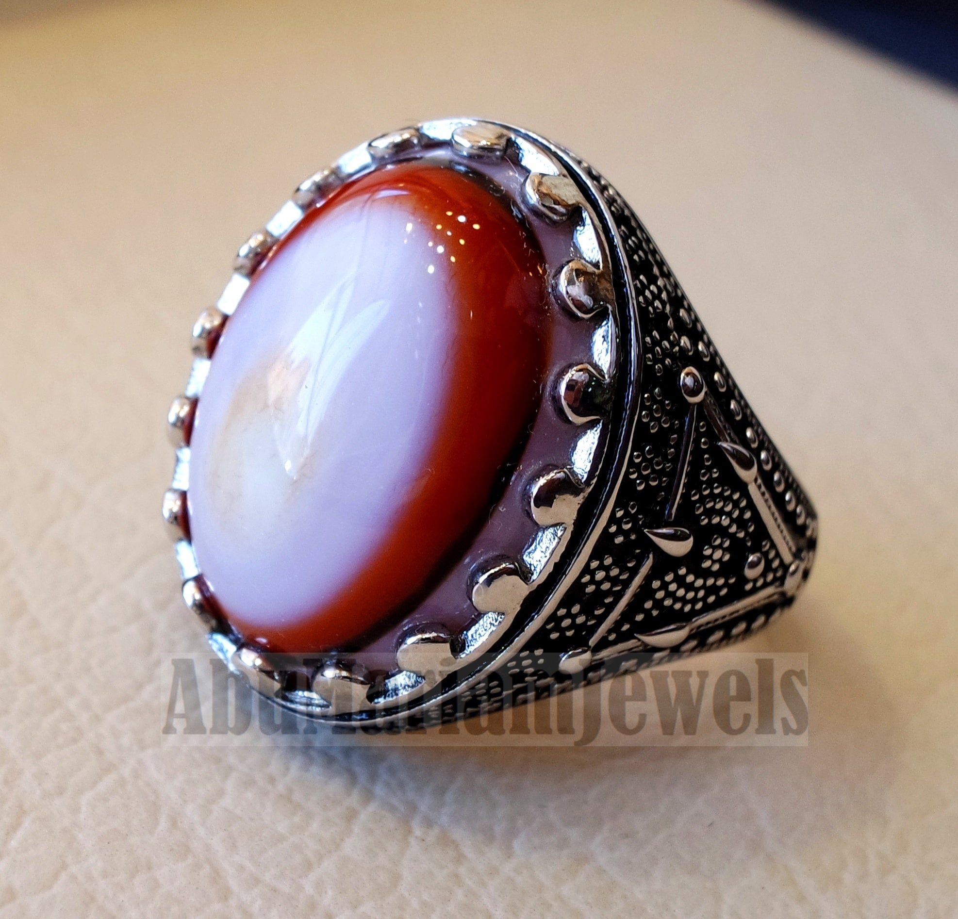 multi color yemen agate aqeeq carnelian sterling silver 925 ring stunning jewelry red orange brown white yellow arabic style oval