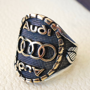 Audi sterling silver 925 and bronze heavy man ring new car ideal gift all sizes