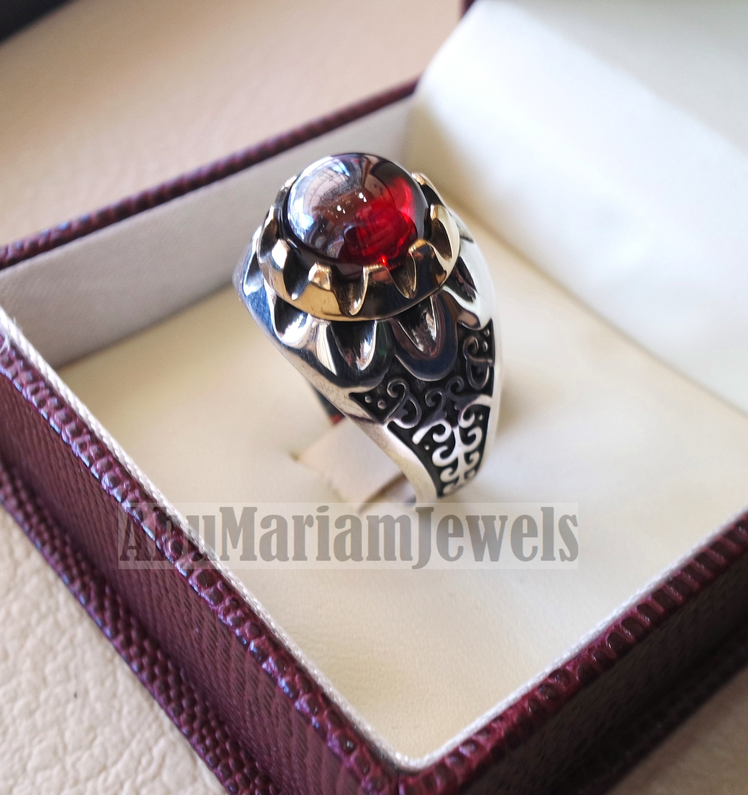 deep red ruby round synthetic imitation stone ring sterling silver 925 bronze any size jewelry identical to genuine gemstone antique style