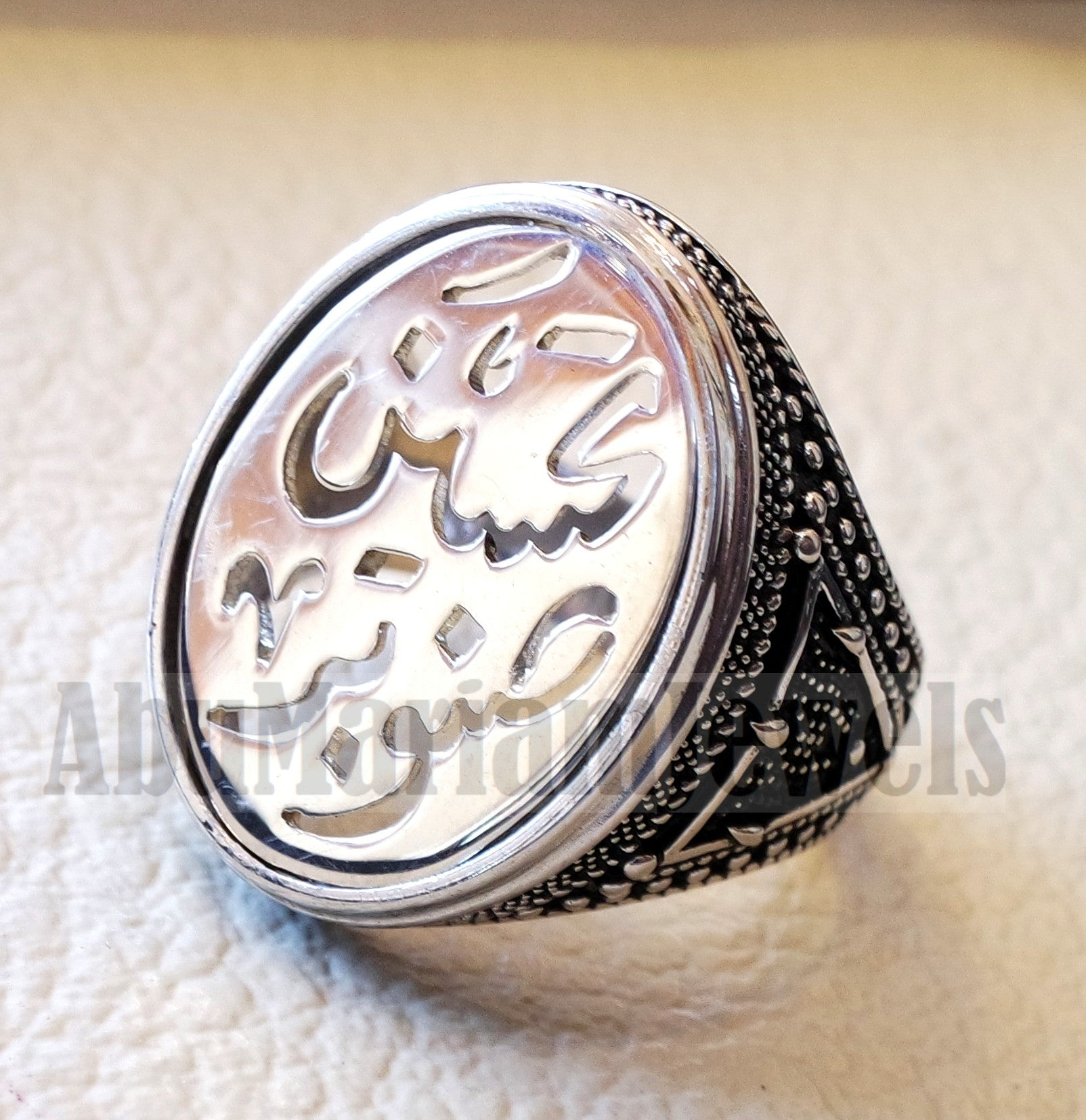 Customized Arabic calligraphy names ring personalized antique jewelry style sterling silver 925  any size TSN1001 خاتم اسم تفصيل