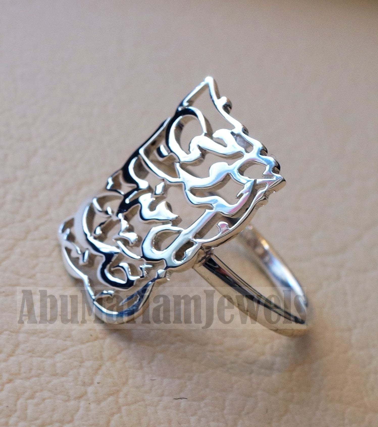 Arabic calligraphy customized 2 - 4 names / phrase sterling silver 925 or 18 k yellow gold ring , fit all sizes any name خاتم اسماء عربي RE1007