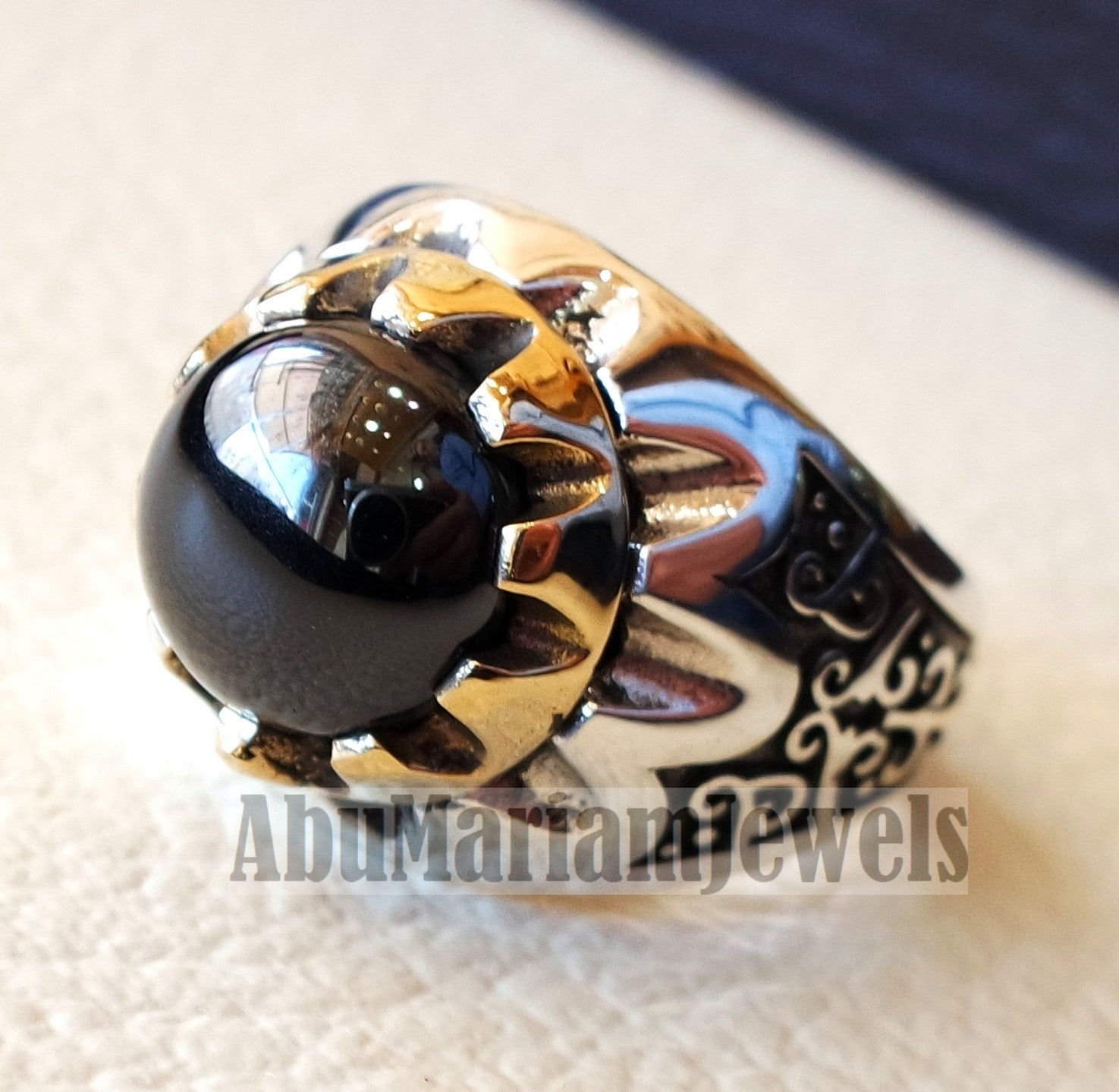 natural round onyx agate black stone sterling silver 925 men ring arabic turkish ottoman antique style all sizes jewelry with bronze frame