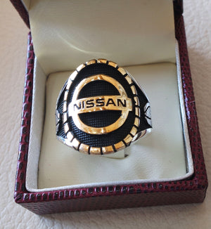 Nissan sterling silver 925 and bronze heavy man ring new car ideal gift all sizes