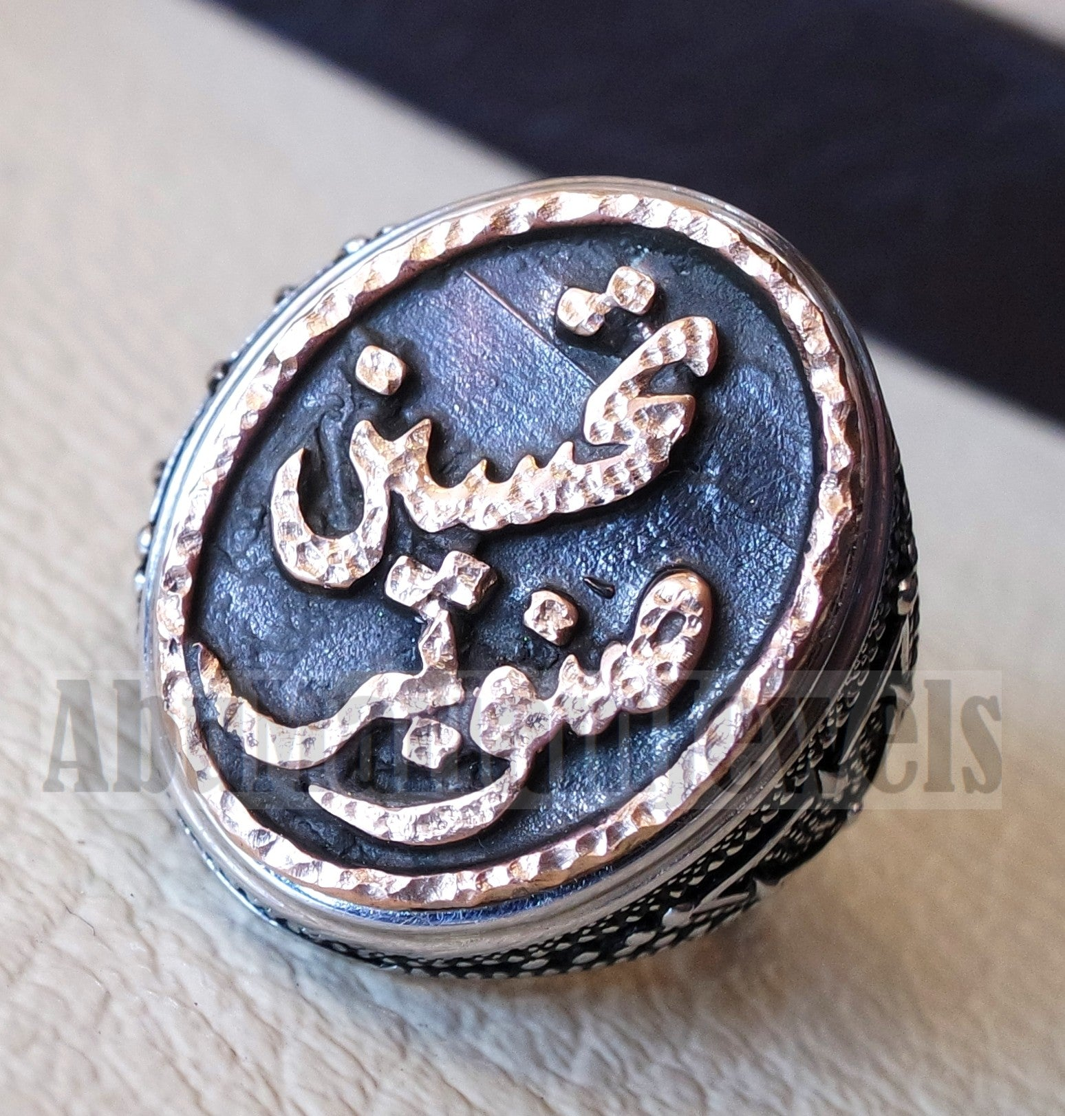 Customized Arabic calligraphy names ring personalized antique jewelry style sterling silver 925 and bronze any size TSB1001 خاتم اسم تفصيل
