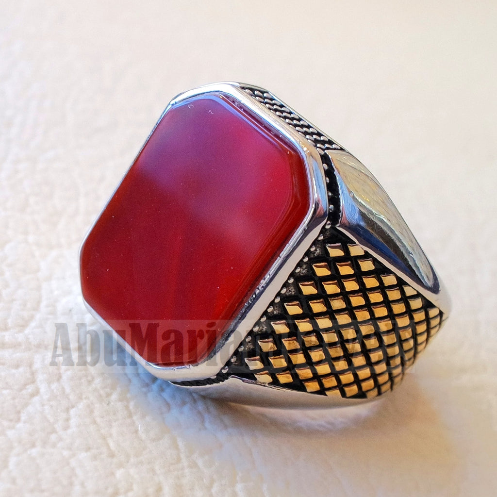 rectangular octagon agate red aqeeq carnelian man ring sterling silver 925 Yellow 14 k plated sides natural stone gem all sizes jewelry