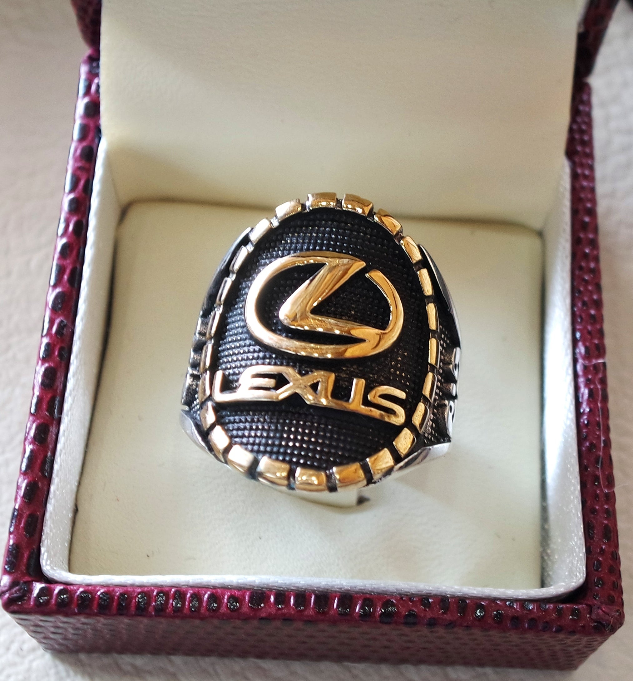 Lexus sterling silver 925 and bronze heavy man ring new car ideal gift all sizes