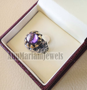 Round purple tanzanite amethyst color synthetic imitation stone sterling silver 925 bronze stunning ring all sizes middle eastern jewelry