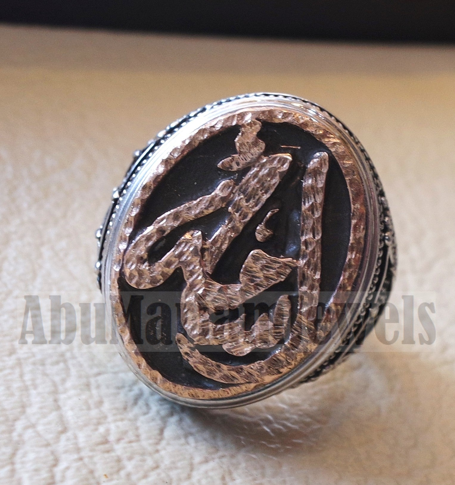 Customized Arabic calligraphy names ring personalized antique jewelry style sterling silver 925 and bronze any size TSB1002 خاتم اسم تفصيل