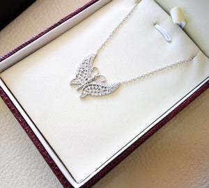 Butterfly necklace white cubic zirconia sterling silver 925 gift box fast shipping