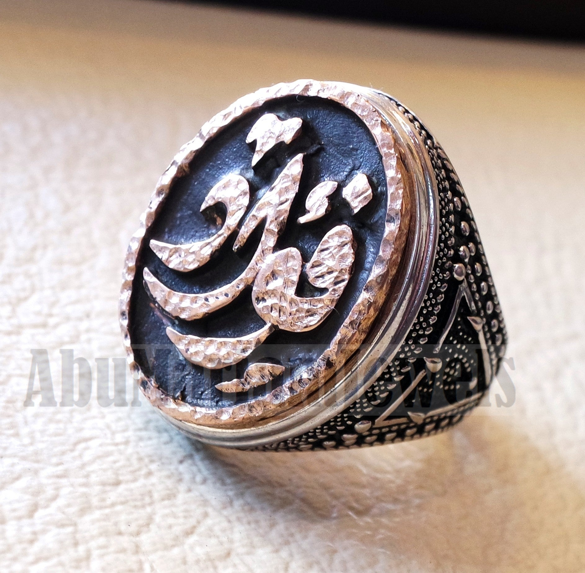 Customized Arabic calligraphy names ring personalized antique jewelry style sterling silver 925 and bronze any size TSB1004 خاتم اسم تفصيل