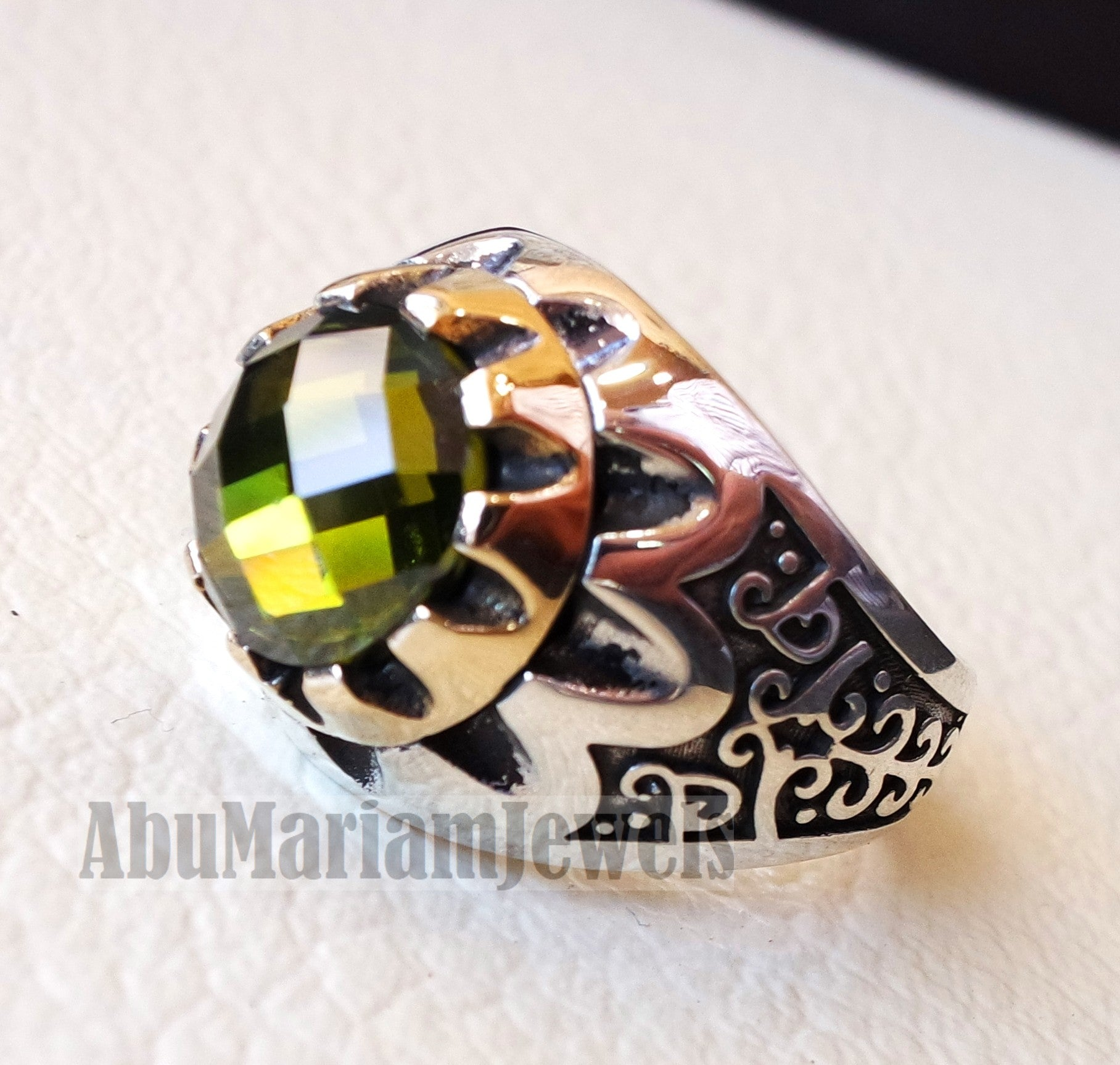 round peridot green cabochon imitation sterling silver 925 men ring all sizes arabic turkish ottoman jewelry bronze frame زبرجد