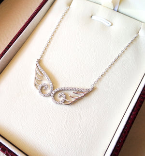 Angel wings sterling silver 925 rhodium plated for durable polish high quality white CZ stones