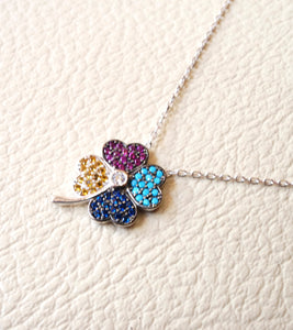 Colorful flower sterling silver necklace high quality multiple colors cubic zirconia micro setting .