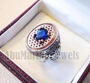 sapphire ring synthetic spinel stone identical to genuine gem men ring sterling silver 925 bronze frame gemstone any size jewelry